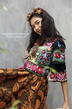 Beauty for a beauty's sake alone Batik Amarillis webstore www.batikamarillis-shop.com New Batik Amarillis's Amarantha dress which features Hungarian's Matyo inspired Embroidery with classy and classic batik sogan sragen 'randu kintir agengan'