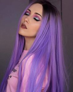 We've gathered our favorite ideas for Purple Hair Hair Colors Dyed Hair Purple Hair Hair, Explore our list of popular images of Purple Hair Hair Colors Dyed Hair Purple Hair Hair in purple hair color. Purple Wig, Hair Color Purple, Cool Hair Color, Hair Colors, Light Purple Hair, Pastel Purple Hair, Violet Hair, Black To Purple Ombre, Burgundy Hair