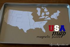 USA Magnetic Map Puzzle | Create a magnetic map of the United States with a cookie sheet to help kids (and even Mom and Dad!) learn US Geography.