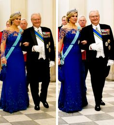 readingroyalty:   Dutch State Visit to Denmark, State Reception, March 17, 2015-Queen Maxima, wearing the Danish Order of the Elephant which she received today, and Prince Henrik