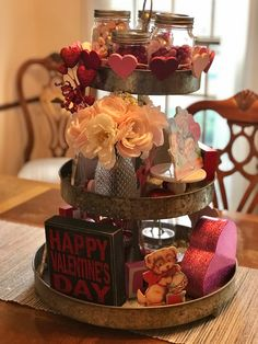 My Valentines tiered tray. Love creating these!