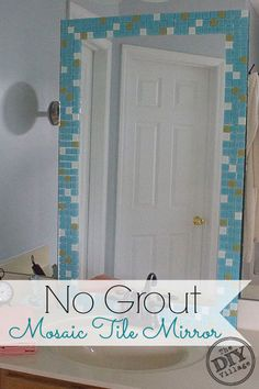 DIY no grout mosaic tile mirror. This is perfect for an apartment! #SeriouslyStrong #spon