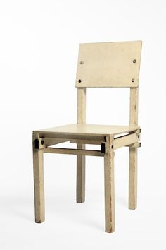 Gerrit Rietveld (1888-1964) was down to earth and pragmatist like no designer before him. He disregarded ornamentation and prefered cheap materials. His famous red-bleu easy chair of 1919 became admired by Theo van Doesburg of De Stijl movement. Rietveld became a member of De Stijl, which desolved in the thirties. This simple design dates from the mid-fifties and is called 'military' chair because it was meant for the canteen of the Military School in Utrecht.