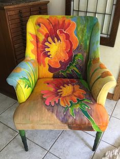 Funky Furniture and Funky Office Furniture Hand Painted Chairs, Funky Painted Furniture, Colorful Furniture, Art Furniture, Upholstered Furniture, Repurposed Furniture, Unique Furniture, Furniture Makeover, Lounge Furniture
