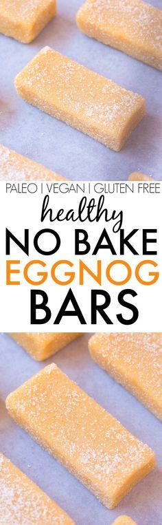 Healthy No Bake Eggnog Bars- Super chewy and delicious bars LOADED with protein and fiber but ZERO sugar, dairy, grains or butter- The PERFECT Snack or dessert! {vegan, gluten free, paleo recipe}- thebigmansworld.com