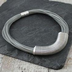 Grey Leather Slinky Necklace - what's new Posh Shop, Grey Leather, Costume Jewelry, Bracelets, Silver, Shopping, Fashion, Moda, Fashion Styles