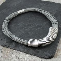 Grey Leather Slinky Necklace - what's new