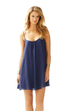 Lilly Pulitzer Daphne Spaghetti Strap Trapeze Dress in True Navy