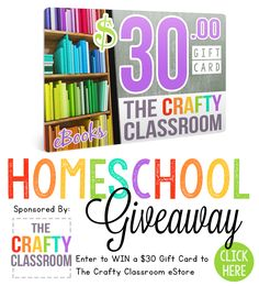 Enter for a chance to win a $30 gift certificate to the Crafty Classroom in this homeschool giveaway! Plus save during their Black Friday Cyber Monday sale.