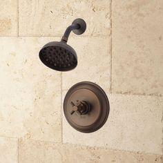Wall-Mount Inglis Nozzle Rainfall Shower Set with Modern Cross Handle