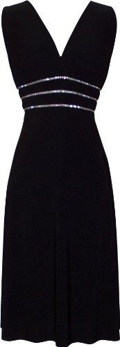 Sexy Little Black Cocktail Dress Crystals JR Plus Size, Small,