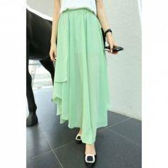 $7.31 Sweet Style Elastic Waist Irregular Hem Flouncing Long Chiffon Skirt For Women