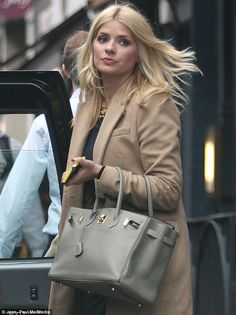 Chelsea girl: Holly's leather Hermes Birkin handbag would have no doubt gone down a storm with the Made In Chelsea girls