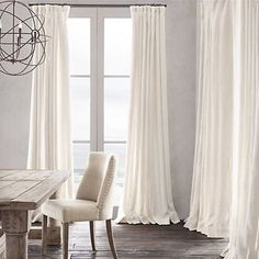 Restoration Hardware's Belgian Heavyweight Textured Linen Drapery:Heavyweight Textured Belgian Linen Drapery- restoration hardware heavyweight belgium linen curtains w/ french pleat- love in mink or maybe charcoal Curtains Living, White Curtains, Drapes Curtains, Curtains For Dining Room, Curtain Panels, Bedroom Drapes, Bathroom Curtains, Master Bedroom, Pinch Pleat Curtains