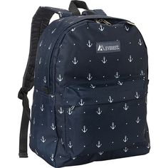 Everest Pattern Printed Backpack - Anchor - School Backpacks (1,020 INR) ❤ liked on Polyvore featuring bags, backpacks, blue, everest backpack, everest bags, pattern bag, blue bag and print bags