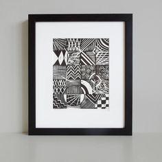grid lino print by knockout | notonthehighstreet.com