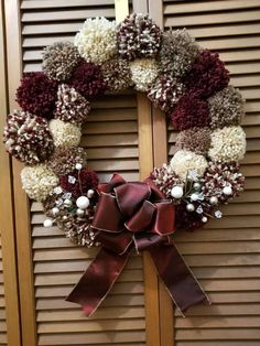 Beautiful to keep out all winter long. From the pretty picks to the colors this is one of my favorites. Christmas Pom Pom, Christmas Holidays, Christmas Crafts, Christmas Ornaments, Pom Pom Wreath, Diy Wreath, Christmas Door Decorations, Holiday Wreaths, Pom Pom Kranz