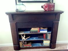 Fireplace Bookshelf made out of reclaimed wood with added vintage or vintage inspired accents. Made at the local salvage yard.