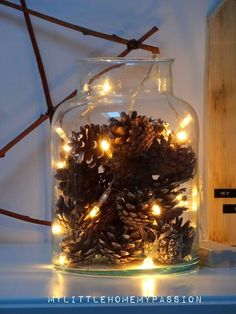 MAGIC IN A JAR . - My little home my passion christmasparty .- MAGIA W SŁOIKU… – My little home my passion christmaspartycenterpieces MAGIC IN A JAR … – My little home my passion christmaspartycenterpieces - Mini Christmas Tree, Christmas Mood, Rustic Christmas, Christmas Lights, Christmas Crafts, Christmas Ornaments, Pine Cone Decorations, Christmas Decorations, Holiday Decor