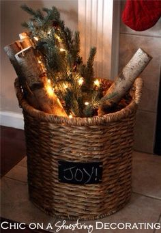 Rustic Christmas Decor | Birch Wood & Clear Lights in Basket