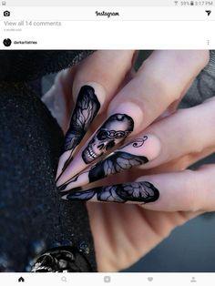 Pink and Black Skull Nail Art Design