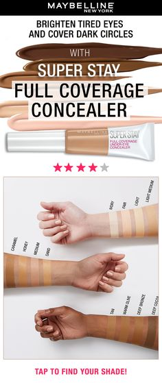 Introducing your new makeup bag essential! Meet the Super Stay Full Coverage Under-Eye Concealer. This full-coverage, yet lightweight concealer, features a precise paddle applicator that glides onto the skin for a smooth, seamless finish. It's waterproof, transfer and smudge resistant and lasts for up to 24 hours! #superstayconcealer #maybellineconcealer