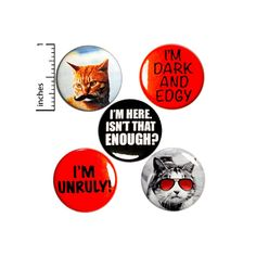 Unruly Pin for Backpack or Fridge Magnets Funny Cats | Etsy Work Jokes, Work Humor, Backpack For Teens, Teen Backpack, Mustache Cat, Birthday Jokes, Funny Buttons, Cat Sunglasses, I Love Bees