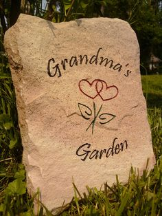 Grandma's Garden Sign carved in stone