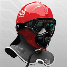 A firefighter helmet that implements different technologies to aid in search and rescue missions. #firefighter #helmet #YankoDesign