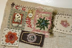 Embroidery lessons from Rebecca Sower Embroidery Sampler, Embroidery Art, Cross Stitch Embroidery, Embroidery Patterns, Fabric Journals, Sewing Art, Fabric Manipulation, Fabric Art, Fabric Scraps