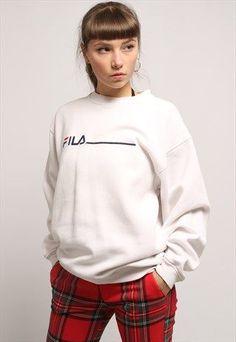2e09af6f197a Vintage Fila Sweatshirt :: White colourway, Elasticated cuffs and waist  pinterest: ☞ katepisors