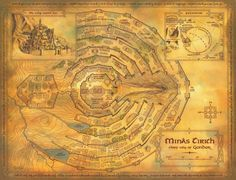 Minas Tirith - Chief City of Gondor Lotr, Tolkien Map, Minas Tirith, Middle Earth Map, Fantasy Map, Lord Of The Rings, The Hobbit, Illustration, Vintage World Maps