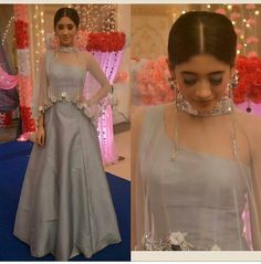 Nayra - Shivangi Joshi In Grey Lehenga Indian Designer Outfits, Indian Outfits, Designer Dresses, Ethnic Outfits, Stylish Dresses, Fashion Dresses, Lehenga Designs, Lengha Design, Indian Gowns