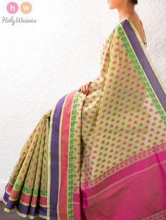Green Cotton Silk Brocade Saree – HolyWeaves