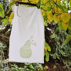 Typographic Tea Towel Kitchen Green Fruit Pear by curlywillowco, $18.00