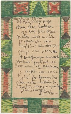 Pablo Picasso, Illustrated Letter to Jean Cocteau, 1916