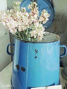 Vintage German Enamel Bucket With Lid