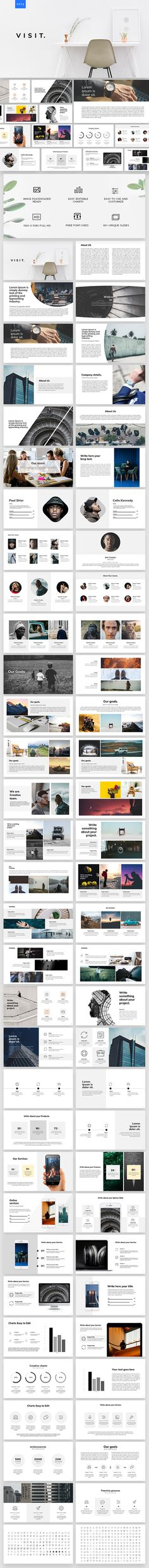 Visit Powerpoint Template — Powerpoint PPTX #business #cool powerpoint templates • Download ➝ https://graphicriver.net/item/visit-powerpoint-template/21408812?ref=pxcr