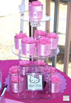 Hello Kitty party favor boxes displayed on acrylic stand