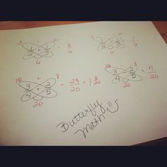 butterfly math easiest way to add and subtract fractions.... I could have sworn I already pinned this!