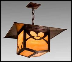limbert pasadena lantern with hand-hammered copper chain and ceiling plate. mica or art glass. $1,995.