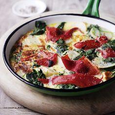 Repin = lekker! Boerenomelet met paprika en spinazie #vega #WeightWatchers #WWrecept