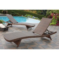 wicker chaise lounges all weather woven resin patio pool lawn backyard set of 2