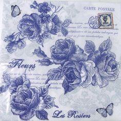 Paper towel Blue rose ペーパーナフキン, paper napkin decoupage rose, rose, rose, floral design
