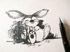 #inktober2016 - day 04 -  HUNGRY  #sketchbook #sketch #bhairaviart #character #characterdesign #bunny #hungrybunny #animals #animalart #penandink #inking #inksketch #artistsofinstagram #drawing #art #inktober #kuretakeinktober2016 #sketchzone