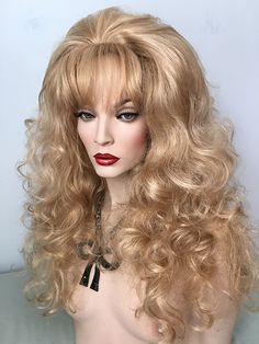 Classic, Drag, Queen, Wig, Medium Auburn,Light Auburn, Dark Auburn, Creamy Blonde, Black, Bright Red