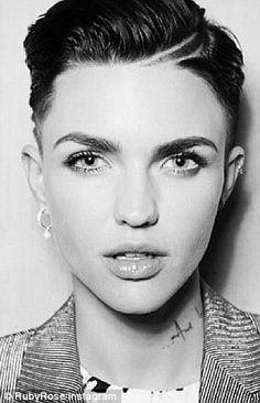 Ruby Rose, Australian model/DJ, haircut. Razor cut, fade, undercut pixie.