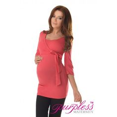 Lovely 2in1 Maternity and Nursing 3/4 Sleeved Wrap Top 7035 Raspberry   Maintain your pre-bump style throughout your pregnancy with our comfortable and affordable 2in1 maternity and nursing wrap top. This 3/4 sleeved top tunic with inner fabric in the neckline has been designed by Purpless to give you comfort and style during your pregnancy and whilst breastfeeding.