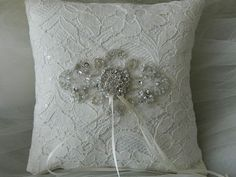 Wedding Ring Bearer Pillow All In Ivory Satin by GartersByTania, $38.00