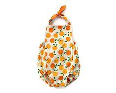 Baby Girl Romper | Orange Fruit | Organic Cotton Fabric | Bubble Romper | Summer Sunsuit | Newborn - 24 months